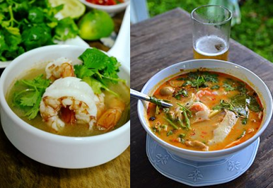 Tom Yam Goong is served in Bangkok, Thailand