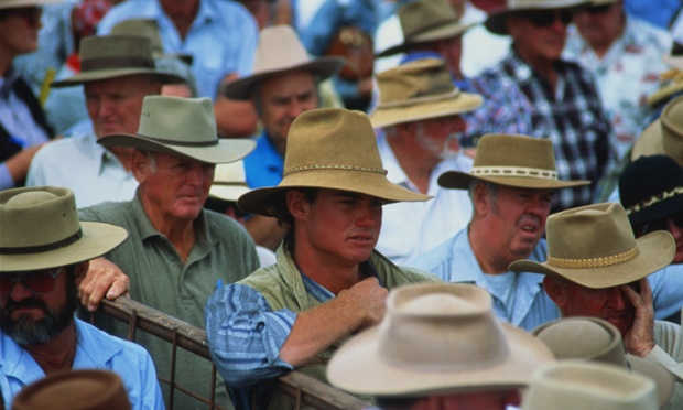 Australia,Queensland,crowd of sheep farmers in 'Akubra' hats at auctio