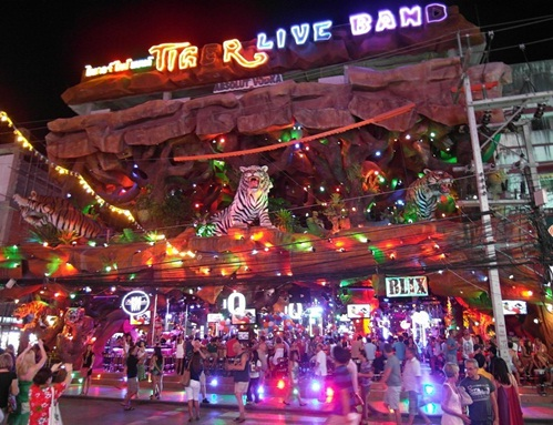 Bustling bars at night