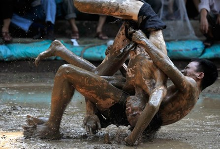 male mud wrestling
