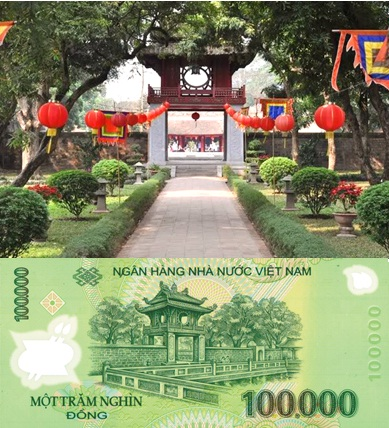 Khue Van Cac and its print on the 100,000 VND banknote