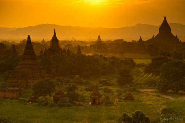 The ancient temples is mysteriously beautiful at sunset
