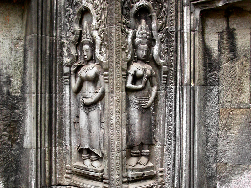 Some images of Apsara bayaderes in bas-reliefs at Angkor Wat
