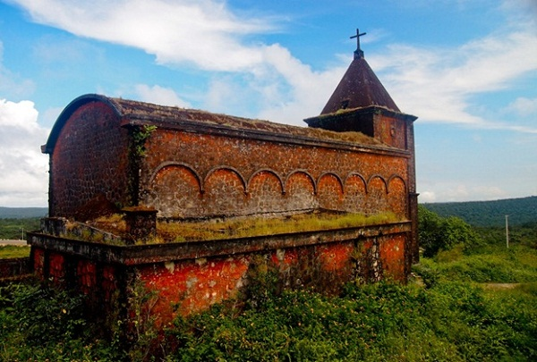 The church was built by the French on the top Bokor