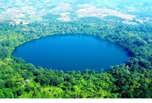 The perfectly circular Yeak Laom Lake