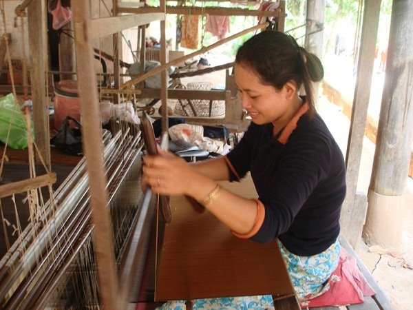 A traditional silk weaver