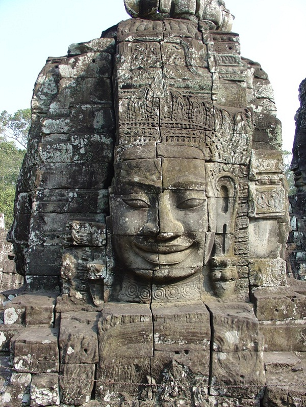 The gigantic face on one side of the tower in the Banteay Chhmar Temple