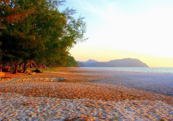 Pante Beach of the Tarutao National Park with glorious white sand beach during sunset