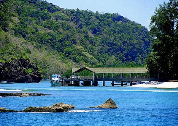 The stunning Koh Tarutao Island Park entry point- the boat pier at Ao Pante