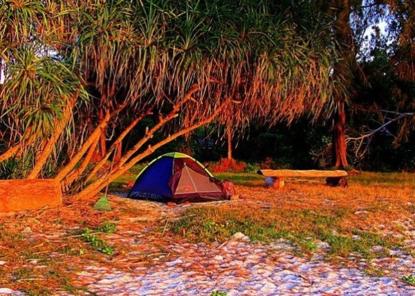 Visitors are going to camp at Koh Tarutao Island, Thailand