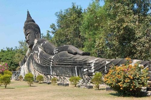 The stunning Reclining Buddha in Buddha Park,Vientiane
