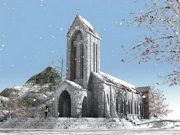 Sapa Catholic Church in snow