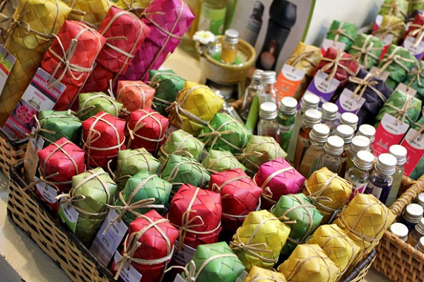 Traditional Cambodian souvenirs are wrapped with beautiful boxes