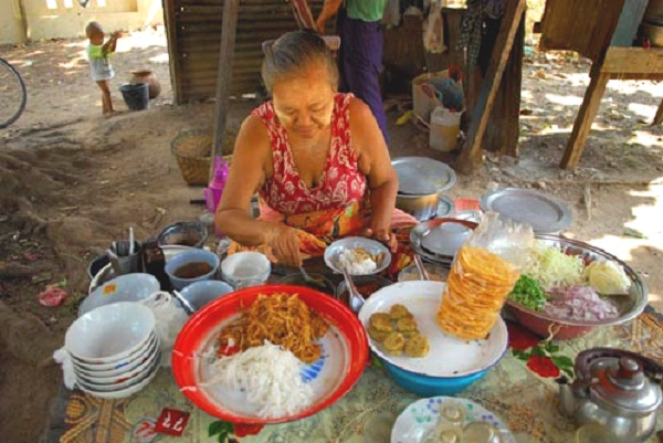 Serving Mohinga in Pathein