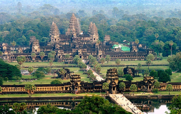 Spectacular Angkor Wat Cambodia from hot air balloon