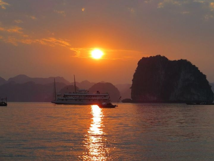 Incredible sunset in Halong Bay