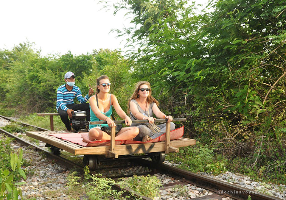 Bamboo train in Battambang, Cambodia, the one and only on Earth
