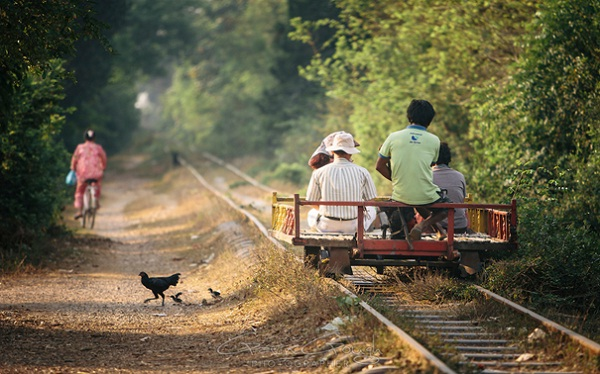 It costs 8 USD for a tour on Battambang's bamboo train
