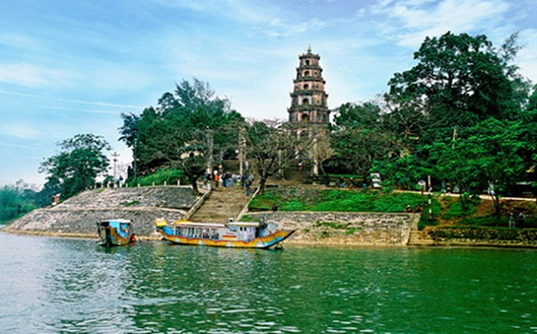 Thien Mu Pagoda on the bank of romantic Huong River