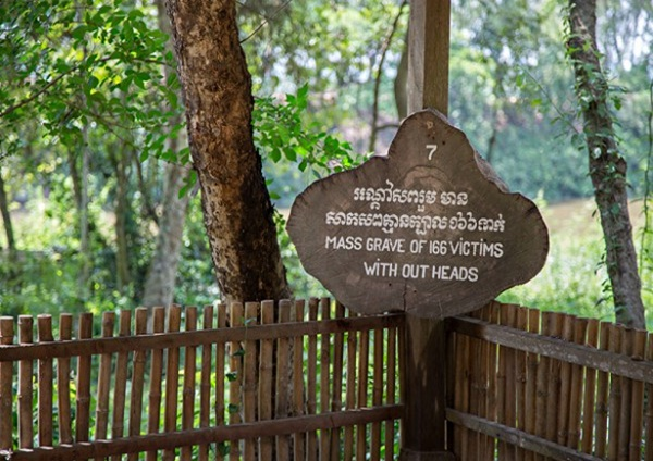 Mass grave at the killing fields of Choeung Ek