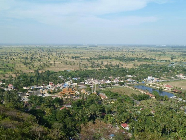 The beautiful view from summit of Sampeou Mountain to Khum Phnom Sampeou town, Cambodia