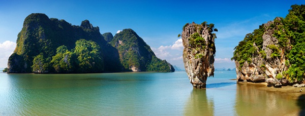 The whole sight of Phang Nga Bay in Thailand