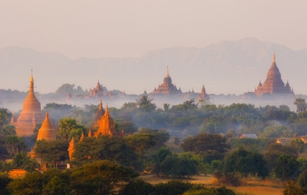 Colorful Mandalay city in the sunset moment