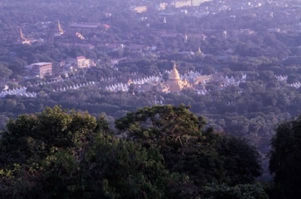 The whole natural scenery of the city from the top of Mandalay