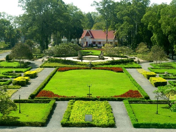 Raffles Grand Hotel d'Angkor is surrounded with a large garden