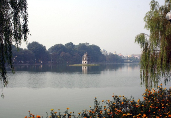The Tortoise Tower lying in the center of Hoan Kiem Lake