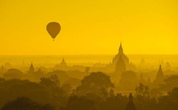 Hot-air ballooning over Bagan