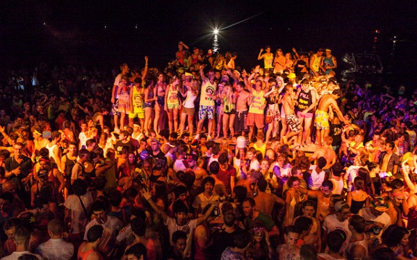 The beach is full of party-lovers, most of them is Westerners