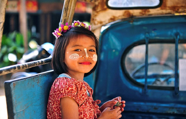Beautiful face painted with Thanaka