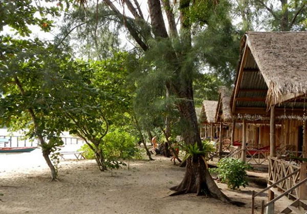 Basic wooden bungalows are not far from beach