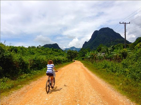 Ride a bike in Laos