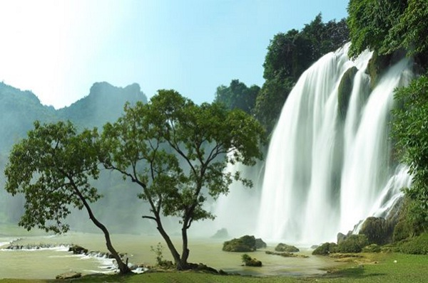 Towering waterfall in the far North Vietnam