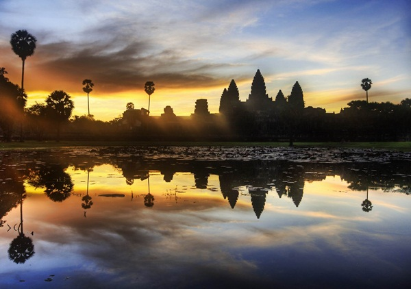 The sunset at Angkor Wat