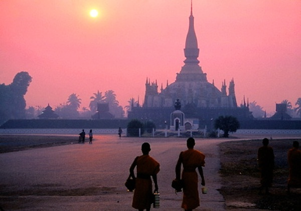 The beautiful sunset in Pha That Luang, Vientiane