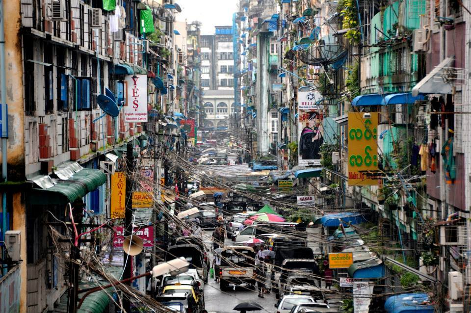 A typical crowed street in Yangon