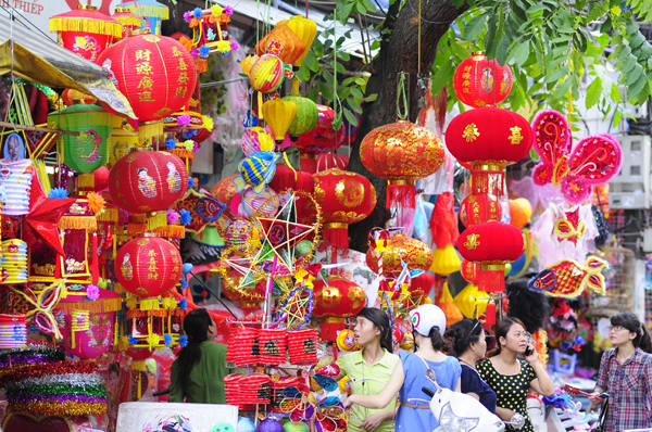 Colorful lantern street (Hang Ma Street) in Hanoi in the early of August in lunar calendar