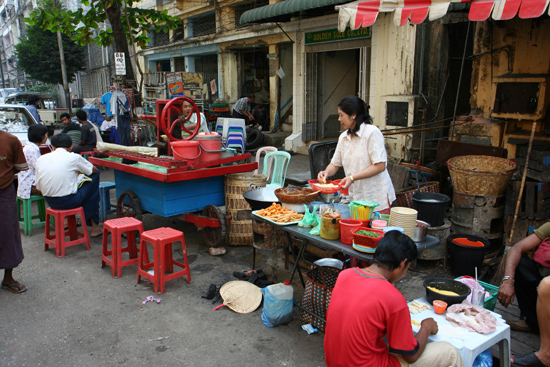 Food stalls in Yangon