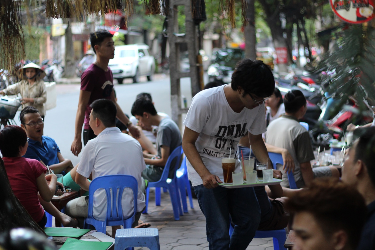In Vietnam, you can have free wifi even in outdoor cafés