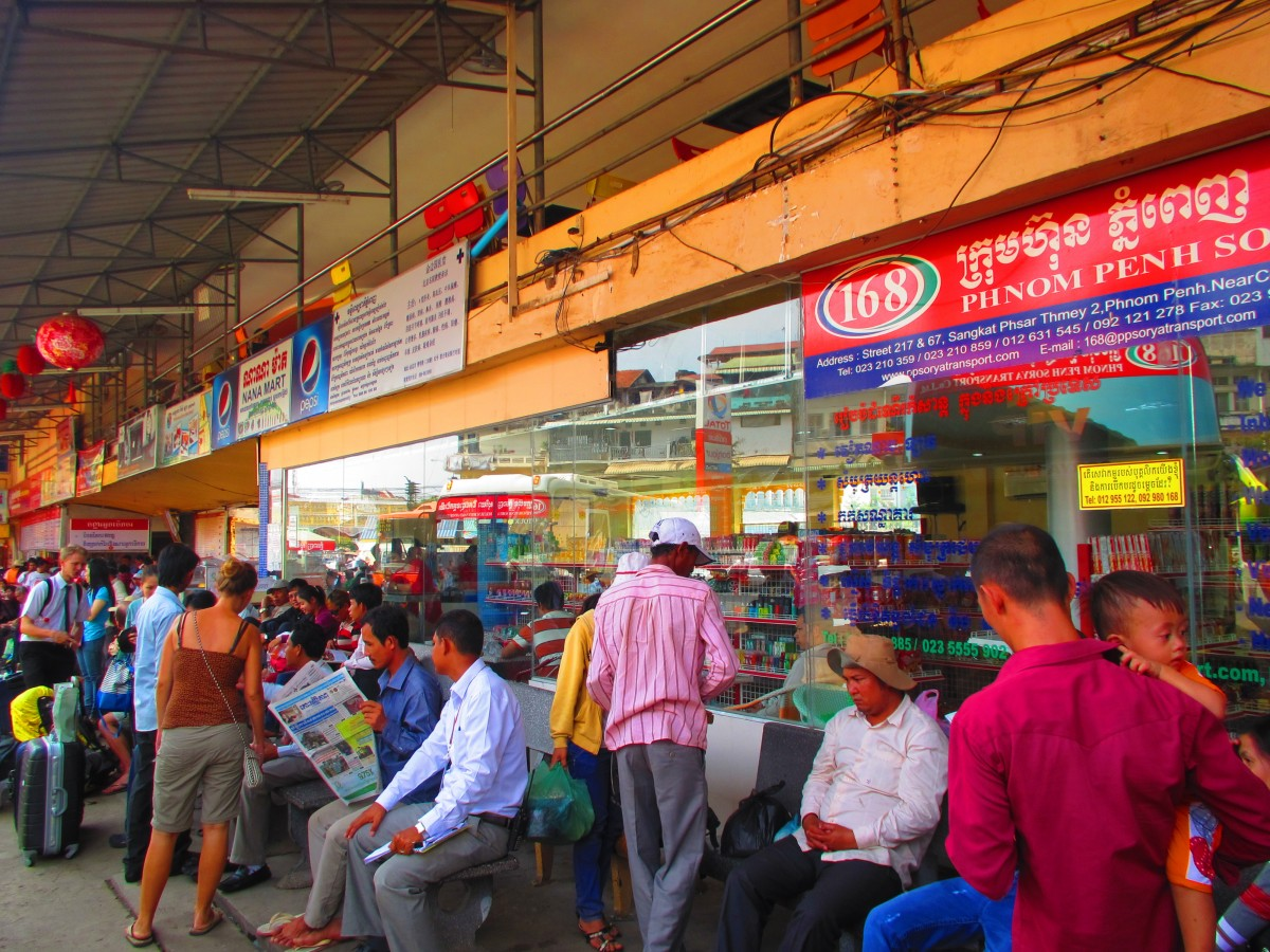 Phnom Penh bus station in busy time