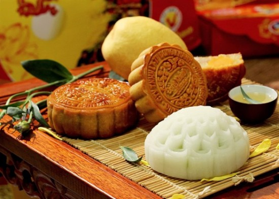 Sticky rice Moon cake, bread bake and green tea- Vietnamese traditional foods in Moon festival