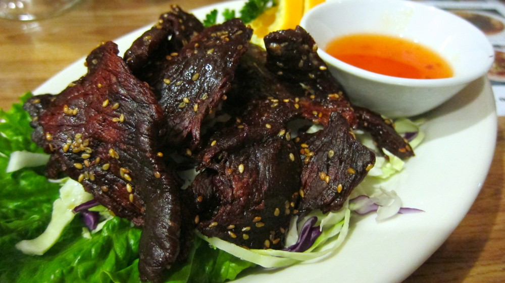 Fried beef is a tasty street food of Laos