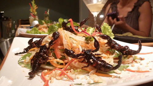 Salad scorpions- Are you brave enough to try eating this weird cuisine in Siem Reap