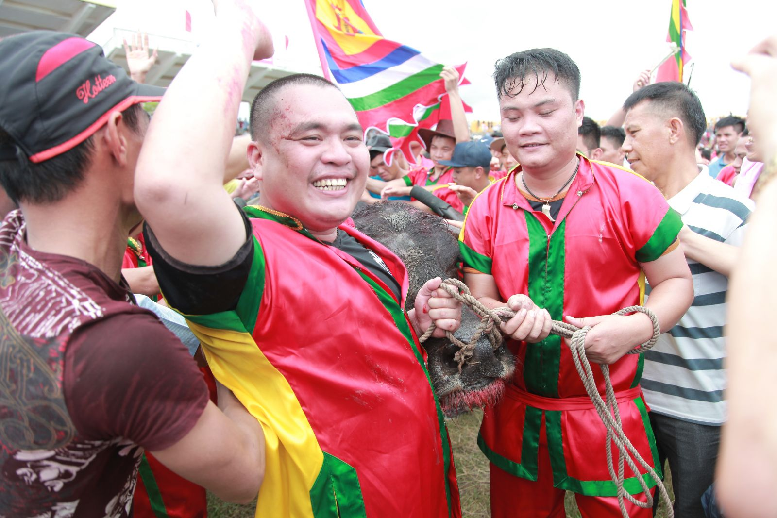 The happiness of the winners in Buffalo Fighting Festival in Do Son Viet Nam 2016