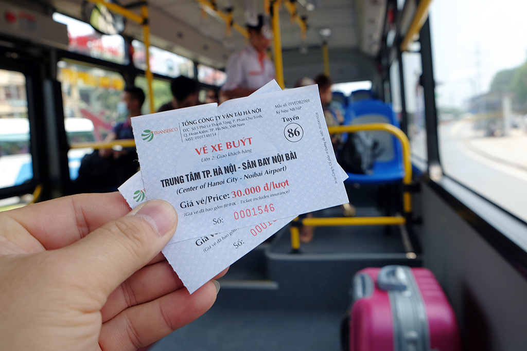 Bus ticket from the center of Hanoi to Noi Bai International Airport