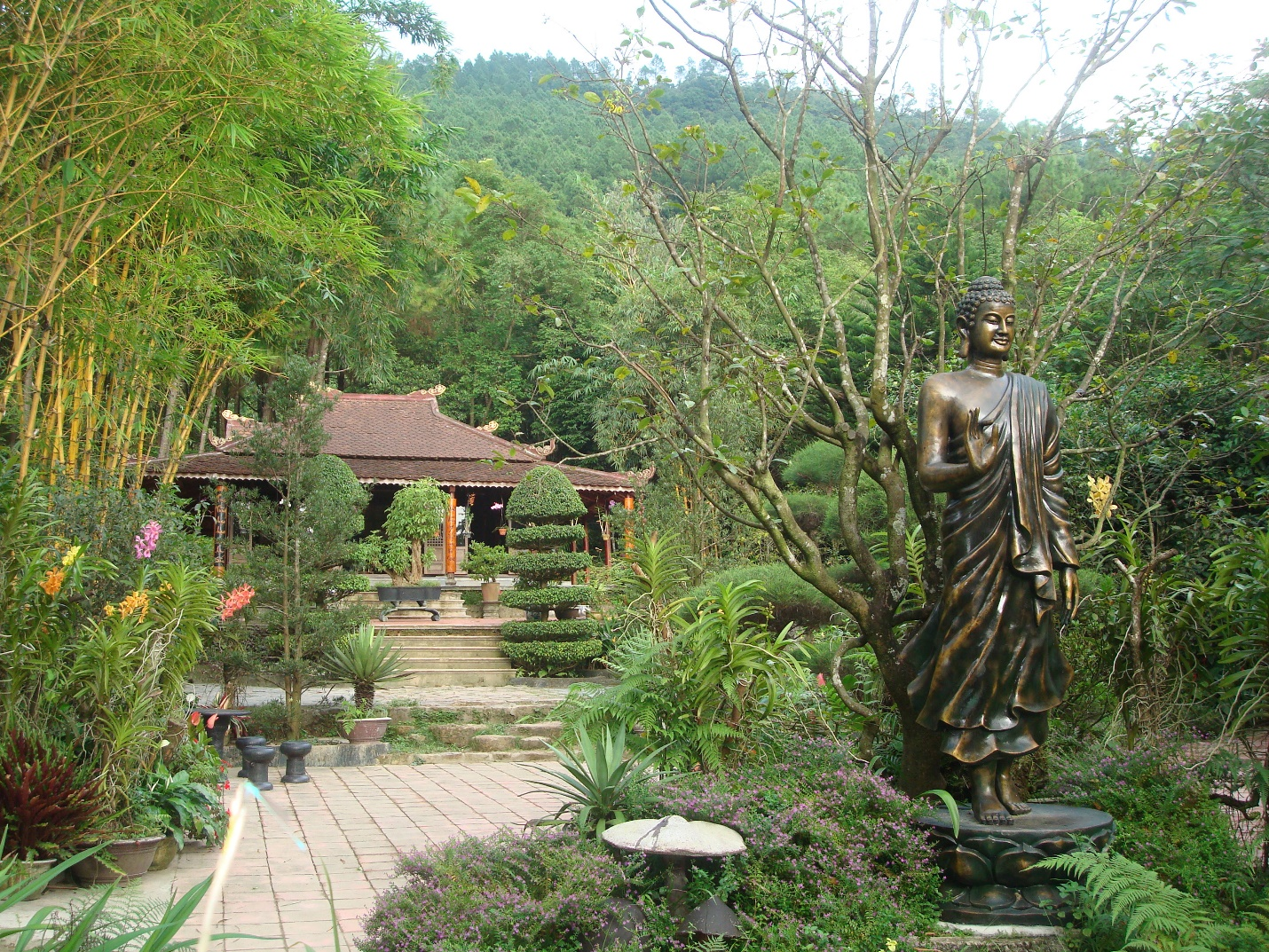 The peace in the campus of Huyen Khong Son Thuong Pagoda