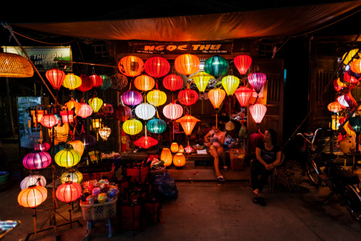Colorful lanterns at night in Hoi An ancient town